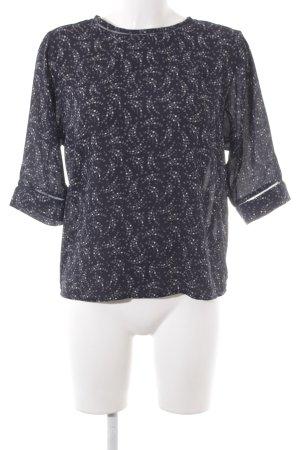 Scotch & Soda Langarm-Bluse dunkelblau-weiß abstraktes Muster Casual-Look