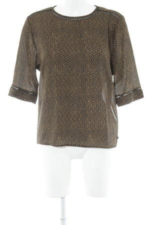 Scotch & Soda Langarm-Bluse sandbraun-schwarz abstraktes Muster Elegant