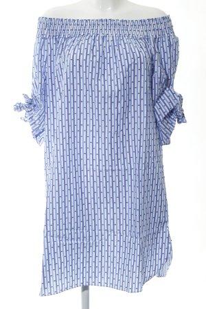 Scotch & Soda schulterfreies Kleid blau-weiß Allover-Druck Casual-Look