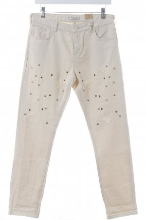 Scotch & Soda Slim Jeans beige grafisches Muster Destroy-Optik