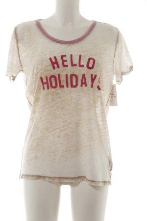 Scotch & Soda T-Shirt creme-magenta Schriftzug gedruckt Street-Fashion-Look