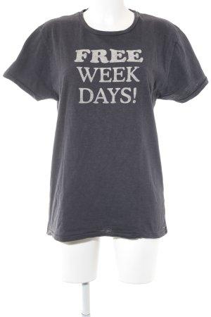 Scotch & Soda T-Shirt dunkelgrau-wollweiß Schriftzug gedruckt Casual-Look