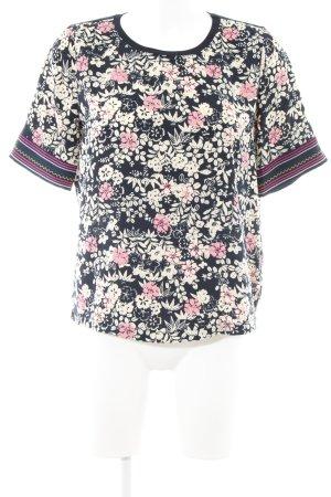 Scotch & Soda T-Shirt hellbeige-dunkelblau florales Muster extravaganter Stil