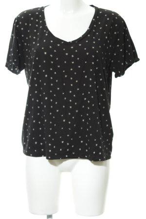 Scotch & Soda V-Ausschnitt-Shirt schwarz-beige Sternenmuster Casual-Look