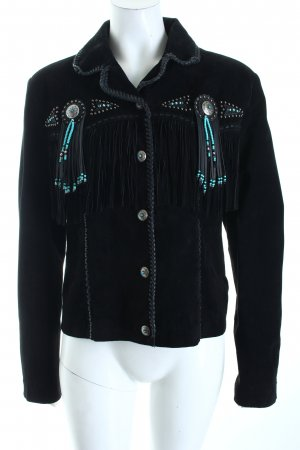 scully Leather Jacket black-turquoise country style