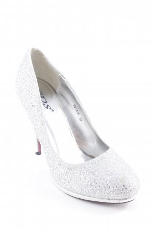 SDS High Heels silberfarben Glitzer-Optik