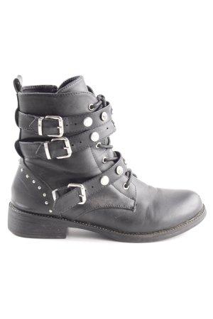 SDS Schnür-Stiefeletten schwarz extravaganter Stil