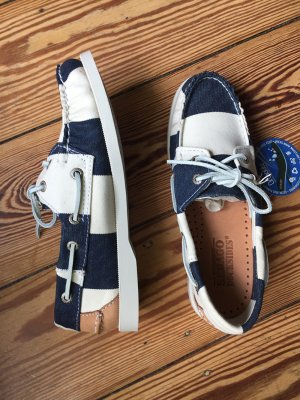 Sebago Docksides Segelschuhe Bootsschuhe Canvas Stripes Streifen blau weiss 38 - NEU