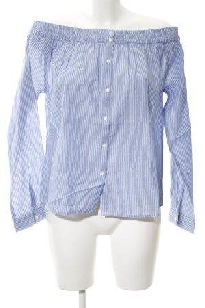 Second Female Carmen blouse korenblauw-wit gestreept patroon casual uitstraling