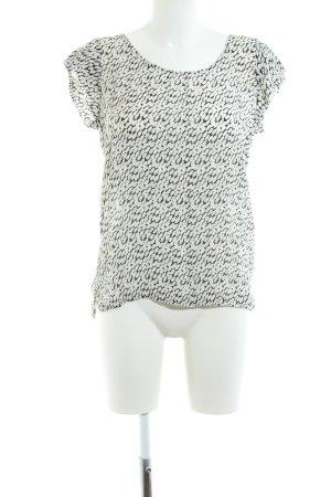 Second Female Kurzarm-Bluse weiß-schwarz Allover-Druck Casual-Look