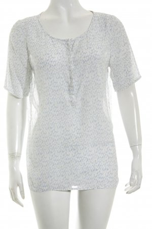 Second Female Kurzarm-Bluse weiß-himmelblau abstraktes Muster Casual-Look