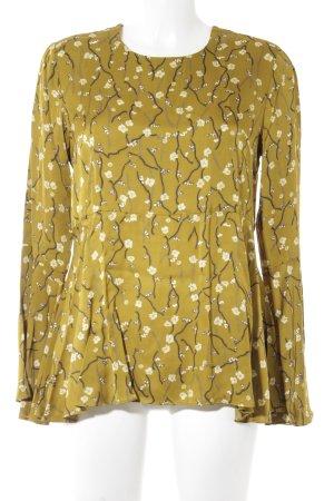 Second Female Langarm-Bluse ocker-hellgelb florales Muster Elegant