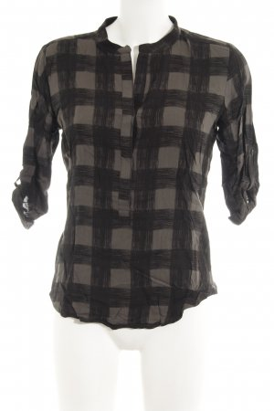 Second Female Langarm-Bluse schwarz-graubraun Karomuster Casual-Look