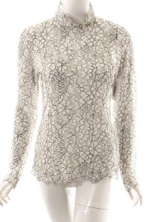 Second Female Langarm-Bluse weiß-schwarz florales Muster extravaganter Stil
