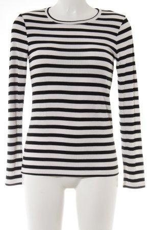 Second Female Manica lunga bianco-nero motivo a righe stile minimalista