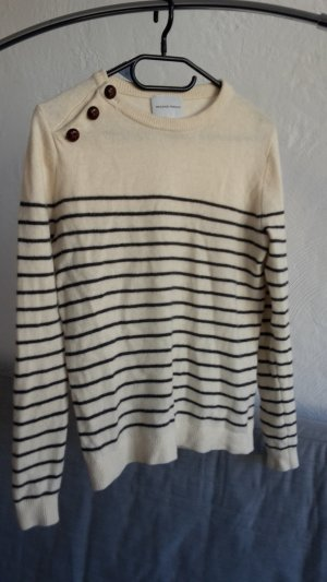 Second Female Strickpullover geringelt beige merino