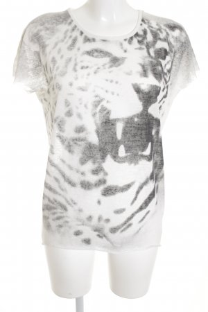Second Female T-shirt bianco-grigio scuro motivo astratto
