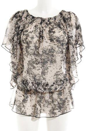 Second Female Transparenz-Bluse creme-schwarz Maltechnik-Muster