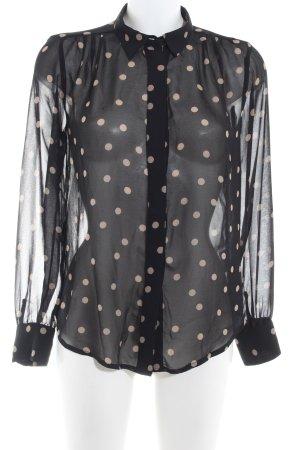 Second Female Blusa trasparente nero-marrone-grigio motivo a pallini