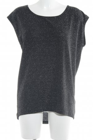 Second Female Boatneck Shirt black-silver-colored glittery