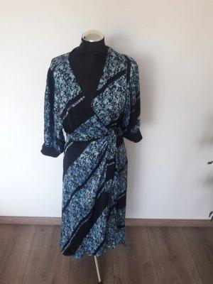 Second Female Robe portefeuille noir-bleu clair