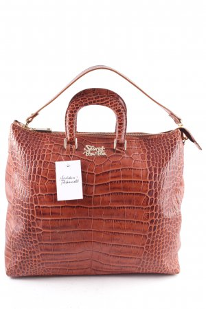 Secret Pon Pon Tote cognac-coloured reptile print
