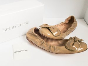 See by Chloé Patent Leather Ballerinas light brown leather