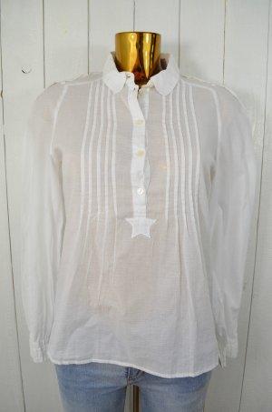 SEE BY CHLOÉ Damen Bluse Tunika Baumwolle Weiß Punkte Biesen Stern Knöpfe Gr.38