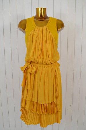 SEE BY CHLOÉ Damen Kleid Pliséekleid Gelb Curry Viskose Gerafft Gr.36