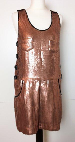* SEE by CHLOÉ * Glitzer Paillietten Kleid Party Kupfer Taschen Zierknöpfe 38 36
