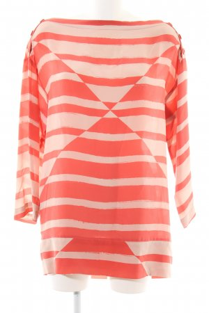 See by Chloé Long-Bluse rot-creme grafisches Muster Business-Look