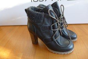 See by Chloé Stiefel Stiefeletten Schuhe Leder schwarz Absatz Gr. 38 wie neu OVP