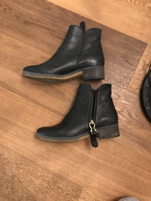 See by Chloé Stiefel Stiefeletten schwarz Echtleder 39 Leder Gold neu Boots