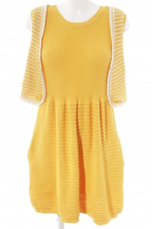 See by Chloé Strickkleid goldorange-weiß Lochstrickmuster Casual-Look