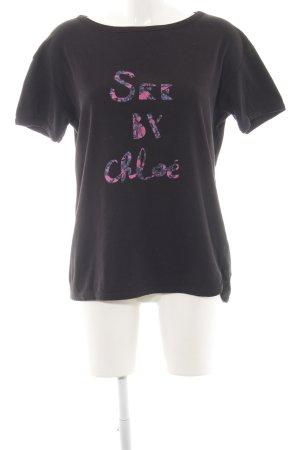 See by Chloé T-Shirt schwarz-pink Schriftzug gedruckt Casual-Look