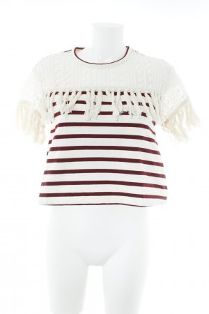 See by Chloé T-Shirt hellbeige-bordeauxrot Streifenmuster Casual-Look