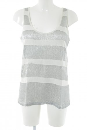 See by Chloé Tank Top silver-colored-white striped pattern glittery