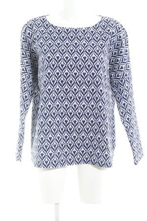 See u soon Oversized Bluse weiß-dunkelblau Aztekenmuster