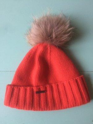 Seeberger Knitted Hat orange-light grey