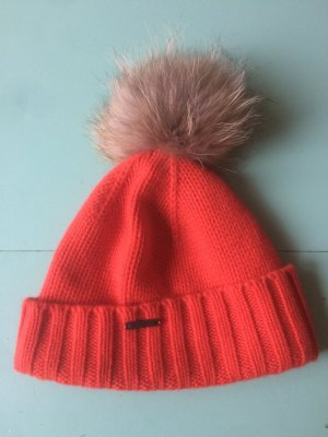Seeberger Knitted Hat orange-light grey