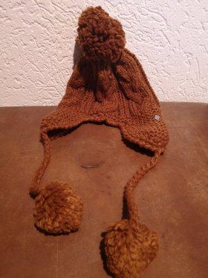 Seeberger Mütze Strick Bommel rot braun