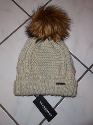Seeberger Mütze Webfell-Pompon beige creme Wolle Neu mit Etikett