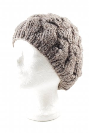 Seeberger Knitted Hat grey-light brown cable stitch fluffy