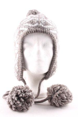 Seeberger Chapeau en tricot taupe-blanc cassé Herzmuster style décontracté