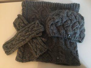 Seeberger Winterset Mütze, Schal und Handschuhe grau Wolle