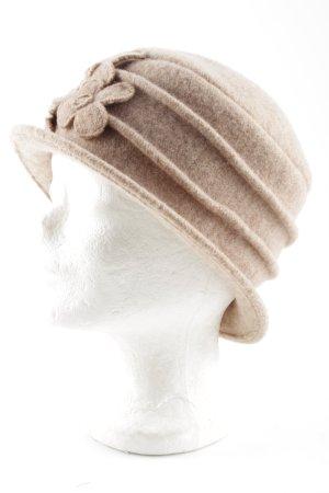 Seeberger Sombrero de lana marrón claro estampado floral look casual