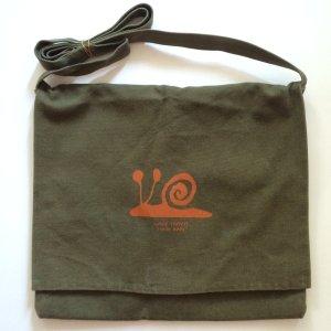 Segeltuchtasche Canvas Umhängetasche süß mit Schnecke Print alternativ oliv grün