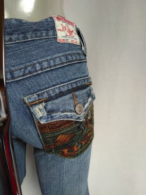 True Religion Jeans flare gris ardoise-vert olive