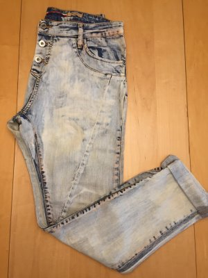 Sehr coole please Boyfriend Jeans in bleached mit Orange Gr. S 36-38
