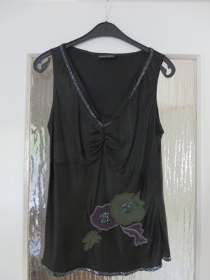 Blacky Dress Top de seda gris antracita Seda